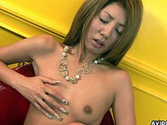 Even though her tits are small, they are sensitive, and this blonde Asian loves fondling them. She also loves fondling and fingering her bushy twat, and using a vibrator on her clit makes her cum.