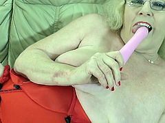 She has out her favorite sex toy and it's time for some relaxation. The horny and elegant mature lady spreads her legs wide and plays with her fat and swollen cunt. She can make herself cum with her vibrator.