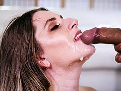 She's ready for a huge cum load to come, squirting out of his dick and onto her lips, and face. She's very good at sucking cock and her blowjobs are always wet and sloppy. This sexy brunette needs a big cock in her mouth.