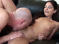 American style fucking her lover can give. Trinitys tiny titties bounce, and her muscular butt clenches with each pelvic dip she makes on his dick. She spreads her legs until shes in the full splits to take his creamy load in her cunt.