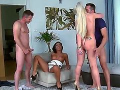 Long legged European babes with shaved snatches Olivia and Anastasia get their tight love holes stretched by throbbing cocks in foursome. Blonde and brunette both in high heels get shagged hand to hand.