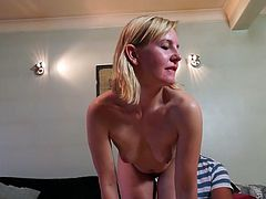 This blonde mature lady really knows how to please her man. She strips naked and sucks on his rock hard cock. She can't get enough of his massive penis and she really wants all his cum inside of her. She is a bad mature nympho.