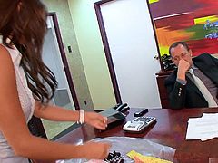 Bella Rey is a sexy secretary who shows up for work everyday, wearing a mini skirt and a shirt that is unbuttoned all the way down to her naval. Of course its distracting to her male coworkers, enough to cause them to close the office door and let her give them a blowjob, or fuck her totally shaved pussy and jerk them off for a cumshot.