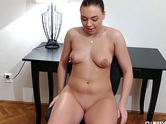 Young juicy chick Morgan is playing with her pussy spreading legs wide open