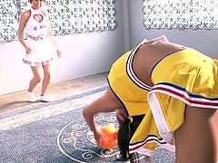 Things started off very innocently. The Japanese cheerleaders were so turned on while practicing, that they needed to have hot lesbian sex. They lifted their legs and flashed those very hairy pussies. They are all natural babes.