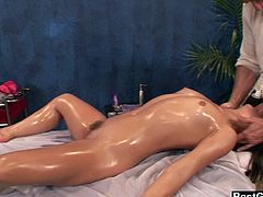 Kristina Rose gets her body and pussy all oiled up and ready to fuck. She can't wait to shove his dick deep in her mouth and take a cumshot to the face