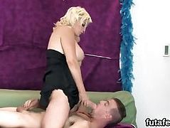 Teens bang fellas anal with huge strap-ons and squirt juice