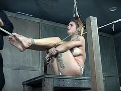 The master knows all the best ways to hard tie beautiful sex slaves like this chubby babe. He plays with her pussy and rubs a vibrating sex toy on her clit, and all over her nipples. She likes the combination of pleasure with pain.