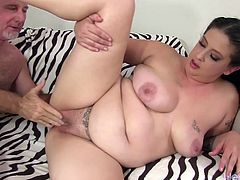 Sexy plumper gets her tits sucked and pussy licked good before the guy penetrates her pussy deep and good in many positions He cums on her belly