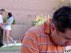 Her husband was getting tired of trying and failing to help his wife to improve her golfing technique, so you offered to help her out instead... and helped yourself to her sweet ass as well. And all right behind her husband's back! Head to our site for some more of the sexiest asses on the internet!