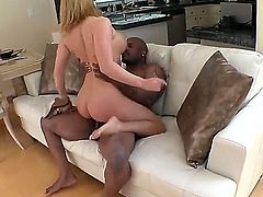 Sex obsessed white slut Krissy Lynn with nice butt and boobs gets her pink hole stretched by black monster cock. Tattooed dark skinned guy has a nice time banging her wet milf cunt.