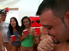 Hot porn stars Sara Jay, Phoenix Marie and Diamond Kitty bare their assets side by side with young amateur girls and then make college guys happy at a college party. Bubble butt women ride dick in public after some cock sucking.