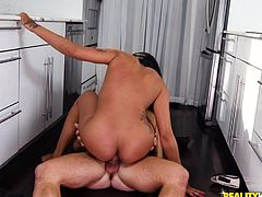 Sexy light skinned ebony hottie Jazzi loves dating white guys who will worship her. Her new man is in awe of her round ass and perky boobs. He wants to bury his face deep in her crack, and she wants to fuck him in the kitchen.