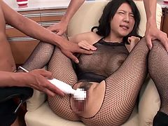 Sexy milf Miho is in heaven as two studs stimulate her vagina and clit. She lays back and relaxes, while the men use sex toys on her pussy and nipples. They want to see this fishnet covered lady have a strong orgasm.