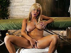 Tasha Reign with juicy knockers and hairless bush kills time dildoing her bush for camera, Thenewpor