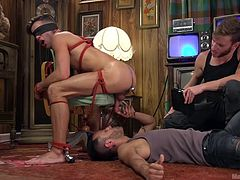 Casey has done some bondage before. He's done a lot of things before, actually, but never like this and certainly not so many things combined! Blindfolded and set up on this chair, he feels the dildo thrust in his asshole, but then feels the buzzing! He gets deepthroated as well.