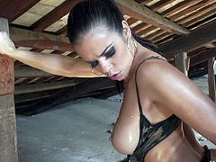 Tied up whore is gagging a big dick before hardcore pussy pounding