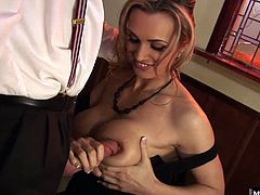 Tanya Tate is after a fresh load of jizz in her mouth, so off to Richards house she goes. He has a tattoo on his back that really turns her on, so when hes down on his knees eating out her pussy, shes gazing at his body art getting even more hot and bothered. Once he shoves his dick into her pussy, she rubs her nipples to contain herself before swallowing every last drip of his cum load.