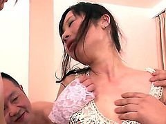 A young Japanese girl in lingerie finds herself surrounded by a bunch of older man with all sorts of weird sex toys. It's not long before she gets torn by these old dudes