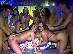 Sexy bodied bikini girls Ava Sanchez, Brittany Shae, Kimmy Granger, and Maria Jade bare their assets at a party. They lick each others tits and snatches in the semi-dark of the club and then get banged doggystyle in front of each other.