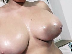Sara Willis with gigantic jugs and shaved twat touches her love hole and breasts playfully, Updatetu