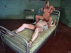 Riki still can't believe how his body was able to endure those tortures... He was tied up in the dungeon, totally naked and the dominant mistress gave mild electric shocks to his sensitive nipples and cock. She also made him to lick her sweaty pussy.