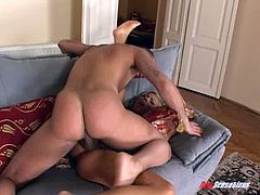 Lingerie-clad blonde with a beautiful body enjoying a hardcore anal fuck