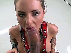 Big titted alternative babe Christy Mack with many many tattoos opens her legs after blowjob and gets her smooth snatch banged on a dinner table in the kitchen with her tiny black panties on.