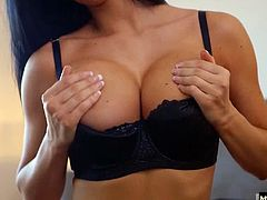 Her breasts are perfectly round and her body is slim with a smooth ass and mocha skin. Shes in the mood to let a man slip his member deep inside her tight pink hole. She rides him slowly and surely until she gets the satisfaction she craves with a load of love all over her supple breasts