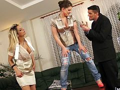 They just rip a hole in Leonys jeans. Leony cant believe it. Another pair of jeans ruined by a threesome...