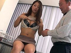Incredibly cute Japanese mommy Satomi Suzuki in beautiful blouse licks pink rubber dildo in front of curious older guy and then strips down to her sexy underwear. Nice lady!