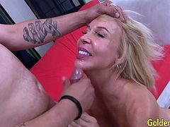 Mature slut gets kissed and her tits sucked and pussy licked Then she takes the young dick deep inside her pussy and get fucked in many positions He cums in her mouth