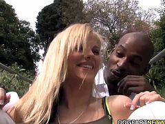 Busty blonde Haley gets her pussy reamed by Flash's big black dick. This black cock slut bit her bottom lip as her anal seal was broken by one of the biggest black cocks around!