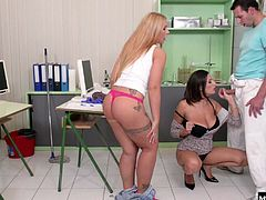 Sensual Jane helps her fill out the application. When the doc comes in, Jane tells Kyra to pretend shes a patient, and assist the doc in helping her get off. Kyra is a good intern, playing with Janes huge tits while shes getting plugged in the pussy. Then its Kyras turn to get both Jane and the doc to orgasm, so she opens up her pussy for him, and lets her tongue do its best to send Jane into orbit