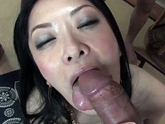 Japanese Milf fucked by 3 Cocks