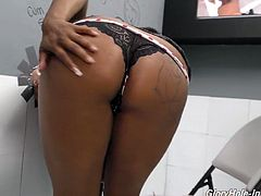 Black bitch with king size jugs Rachel Raxxx is developing skills in the glory hole room