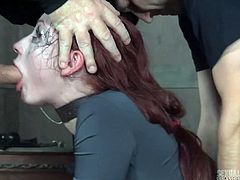 Two aggressive dudes fuck deep throat and wet pussy of tied up bitch Violet Monroe