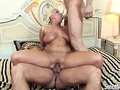 Then she gets her pussy fucked hard Another guy joins and gets fucked in both holes They cum on her tits