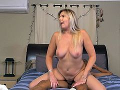 This hot blonde mature wants to bounce up and down on cock all day long. She has huge boobs and a wet, and loose pussy. She is going to let her man cum deep inside of her old cunt. She can suck cock very well thanks to her years of experience. This mature likes her cocks big and black.