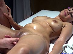 Max knew that she was enjoying the massage, by the way she moaned, as he ran his fingers all over her clit. She wanted his cock so badly now. She enjoys the fucking even more than the erotic massage. She will cum so hard.