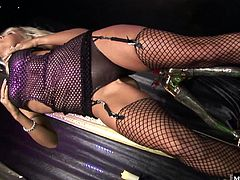 A blonde stripper with big boobs, wearing lingerie and fishnet stockings gets it on with a man in this costumed sex session from Bluebird Films Anything Goes, her tight shaved pussy getting a professional grade fucking before her pulls out to give her a facial cumshot.