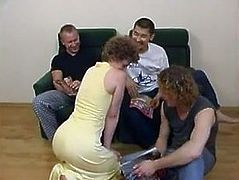 Russian mother fucked by young boys