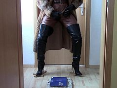 Thigh high boots, leather and fur