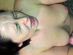 Cute brunette blows him before receving a massive facial