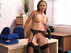 Whorish secretary Tina Kay shows striptease right in the office