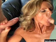 She is definitely on the mature side but all she does is go to the gym and work out so her body is slammin. She does exactly as her husband asks and shes coaxed to fuck an older dude as her husband watches from a chaise lounge. He even tells her to take it up the ass. I bet she has a pretty hefty allowance