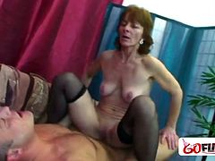 Slim granny is prefers young cock inside her mouth