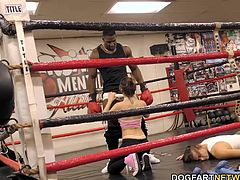 Joseline learning how to fight the good fight if need be. Joseline's pussy began to tingle when they first met with instructor. They suck and fuck while Hubby is out for the count...