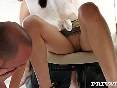 Two hot blooded co-workers fuck both holes of cute secretary Michelle Carr