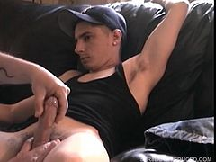 He starts playing the porn video, he pulls out his dick and tugs on it until its stiff. Vinnie lubes up his monster and starts stroking and sucking his big meat, while he watches the TV. Soon Cory explodes in Vinnies hand. Vinnie licks up whats left of his load and swallows.